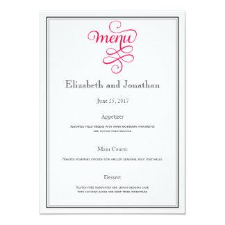 Menú profundo de la recepción nupcial del rosa invitación 12,7 x 17,8 cm
