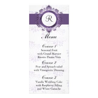 menú púrpura del boda del monograma