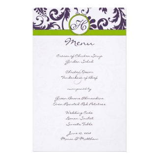 Menú púrpura y verde de Lapis del damasco del boda