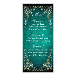 menú real del boda del oro rústico de la plantillas de lonas