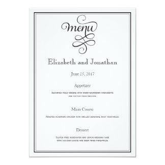 Menú rizado negro de la recepción nupcial de la invitación 12,7 x 17,8 cm