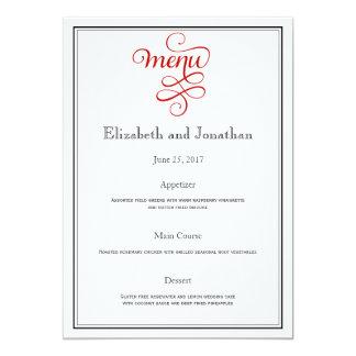 Menú rizado rojo de la recepción nupcial de la invitación 12,7 x 17,8 cm