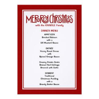 Menú rojo de la cena de las Felices Navidad