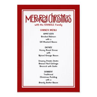 Menú rojo de la cena de las Felices Navidad Invitación 12,7 X 17,8 Cm