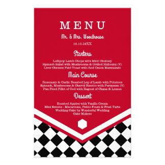 Menú rojo del boda con el modelo a cuadros negro folleto 14 x 21,6 cm