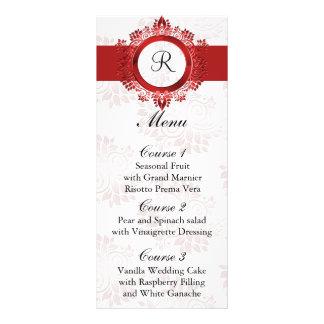 menú rojo del boda del monograma