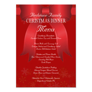 Menú rojo grande de la cena de navidad de la invitación 11,4 x 15,8 cm