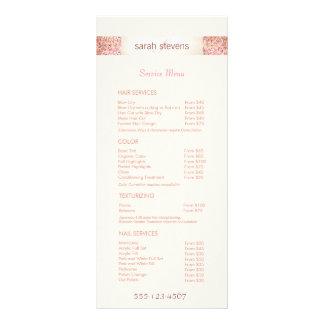 Menú rosado de la lista de precios del salón del