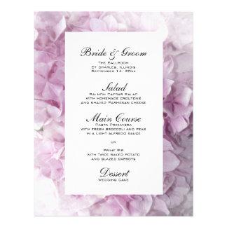 Menú rosado suave del boda del Hydrangea Folleto 21,6 X 28 Cm