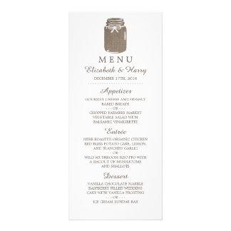Menú rústico del boda del tarro de albañil de la lonas publicitarias
