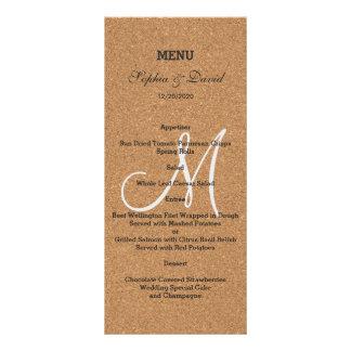 Menú rústico del monograma del boda del corcho del