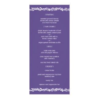 Menú simple de la recepción del boda ultravioleta
