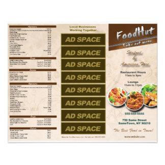 Menú triple del restaurante folleto 11,4 x 14,2 cm