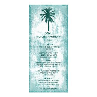 Menú tropical del boda de playa de la palmera