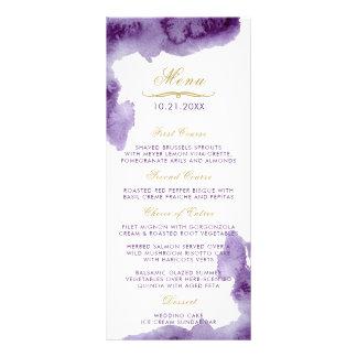 Menú ultravioleta del boda de la acuarela