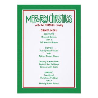Menú verde de la cena de las Felices Navidad