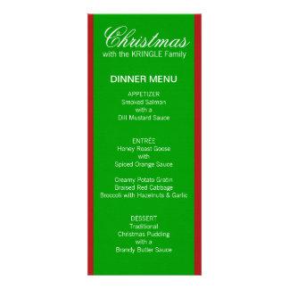 Menú verde de la cena de las rayas del navidad