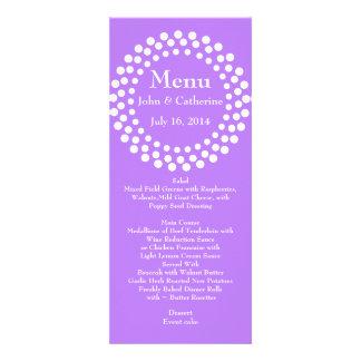 Menú violeta moderno elegante de la tabla del boda invitaciones personales