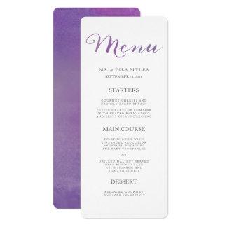 Menú/violeta puros del boda de la acuarela del invitación 10,1 x 23,5 cm