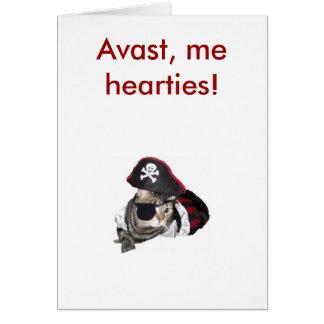 ¡Meow como un pirata, Avast, los hearties! Tarjeta De Felicitación