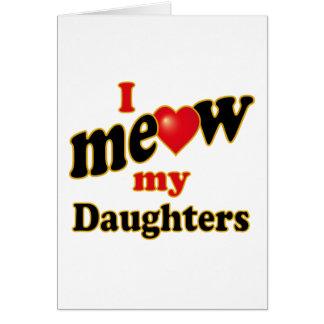 Meow mis hijas tarjeta de felicitación