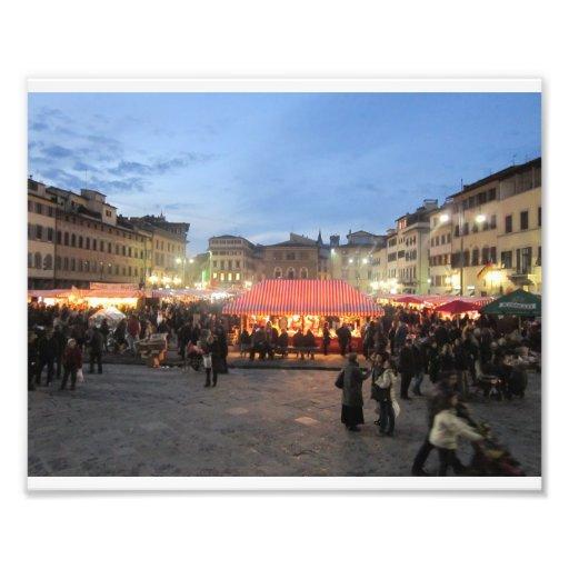 Mercado alemán del navidad en la plaza Santa Croce Impresion Fotografica