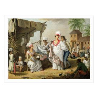 Mercado de lino, Roseau, Dominica, c.1780 (el Postal