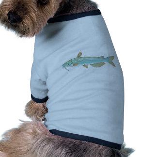 Mercado de los mariscos de los pescados de la camiseta con mangas para perro