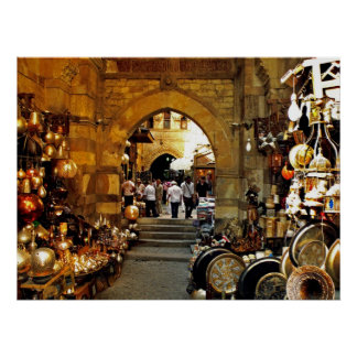 Mercado del al-khalili de Khan Póster