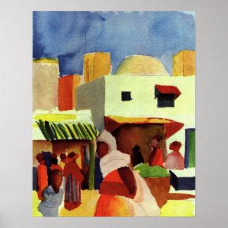 Mercado en Algier en agosto Macke Póster