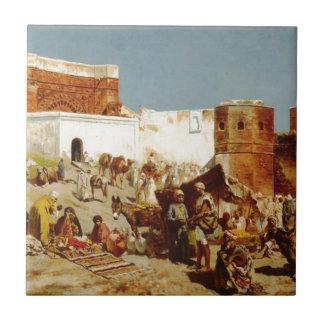 Mercado libre, Marruecos de señor Weeks de Edwin Azulejo Cuadrado Pequeño