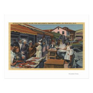 Mercados de pescados al aire libre en el muelle postal