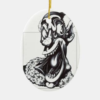 Merci el payaso adorno ovalado de cerámica