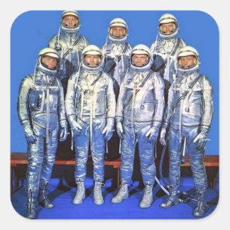 mercurio 7 astronautas pegatina cuadrada