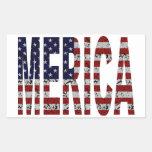 'MERICA - Bandera de los E.E.U.U. del Grunge Rectangular Pegatina