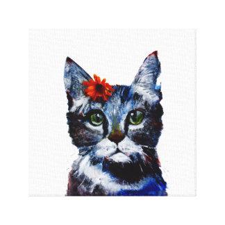 Mermelada, el gato lindo que lleva una flor lienzo