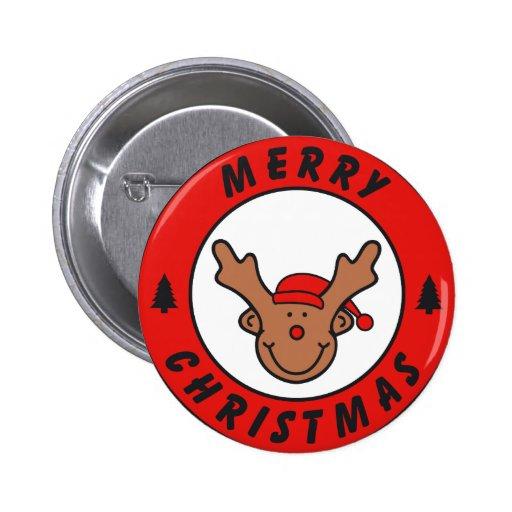 Merry Christmas Rudolf reno con baum Pins