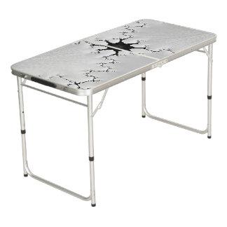 Mesa De Pong Arte agrietado blanco y negro del fractal