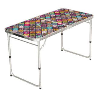 Mesa De Pong El diamante colorido tejó el estampado de flores