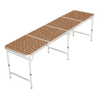Mesa De Pong Modelo de mosaico de Brown y de la crema