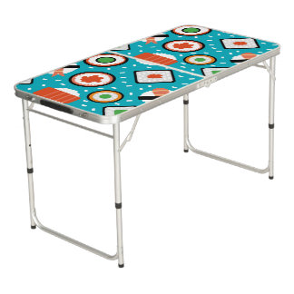 Mesa De Pong Modelo inconsútil del dibujo animado del sushi del