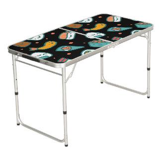 Mesa De Pong Modelo inconsútil feliz lindo del sushi en negro