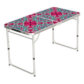 Mesa De Pong Rosa y modelo floral de la mandala de la turquesa