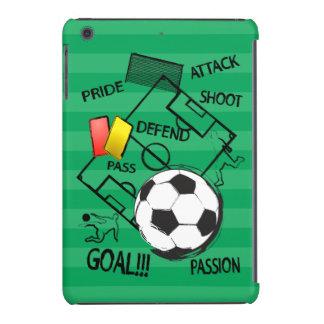 Meta del ataque del fútbol del fútbol fundas de iPad mini