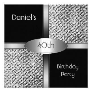 Metal a la 40.a fiesta de cumpleaños de la plata b invitacion personalizada