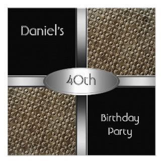 Metal a la 40 a fiesta de cumpleaños de la plata d anuncio personalizado