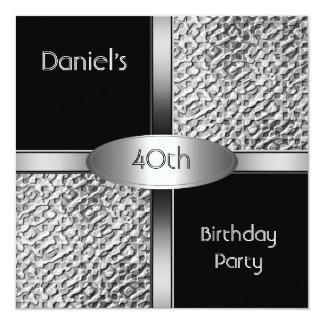 Metal a la 40.a fiesta de cumpleaños de la plata invitación 13,3 cm x 13,3cm