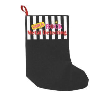 Metal de la roca de los chicas que detecta el calcetín de navidad pequeño