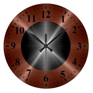 Metal de plata de bronce fresco del acero reloj redondo grande