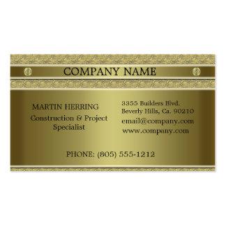 Metal del oro de la construcción grabado en reliev tarjeta de negocio